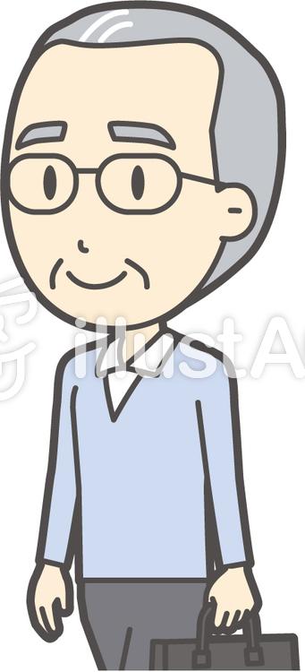 高齢ブルー男性-291-バストのイラスト