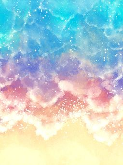 Watercolor background material of the sea 04 / b
