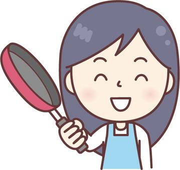 Smile in cuisine Apron women Blue