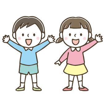 Cute kid / hand drawn / boy / girl