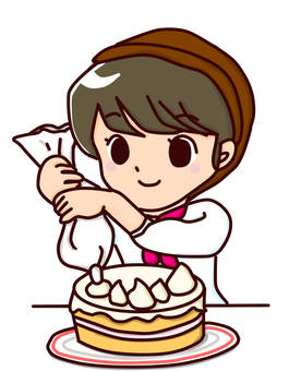 Girl making cake