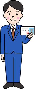 Men presenting identity cards