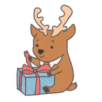 Reindeer opening a present