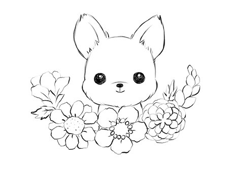 꽃과 요키 (흑백)