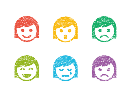 Stamp-like face icon (girls)
