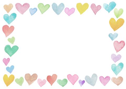 Watercolor heart frame-2