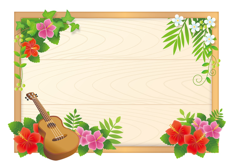 Ukulele and hibiscus frame