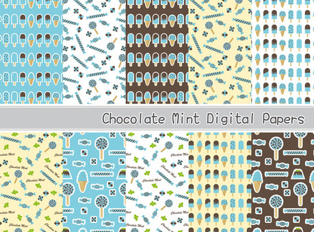 Chocolate mint sweets pattern material set