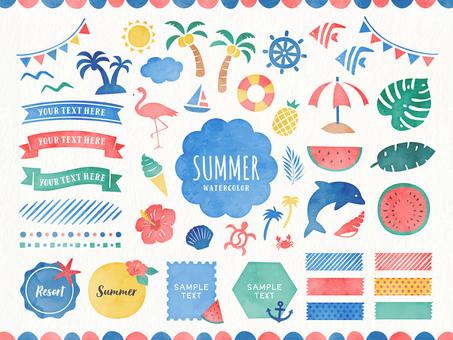 夏季水彩風格設計與插畫素材集