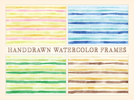 Hand-painted watercolor border pattern background set
