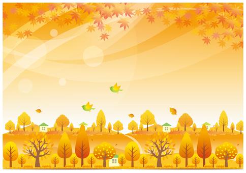 Autumn scenery and dusk scene