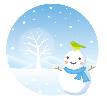 A snowman and a small bird in a snowy landscape 2