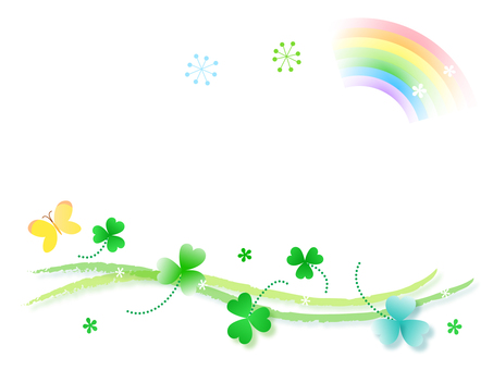 Clover and butterfly and rainbow frame