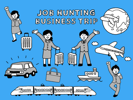 Business trip job hunting person set black and white (simple)