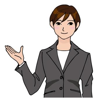 정장을 입은 접수 여성
