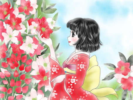Rhododendrons and girls