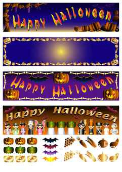 Four kinds of Halloween heads and accessories