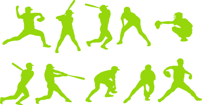 Baseball player _ Silhouette _ Set _ 01 _ Green
