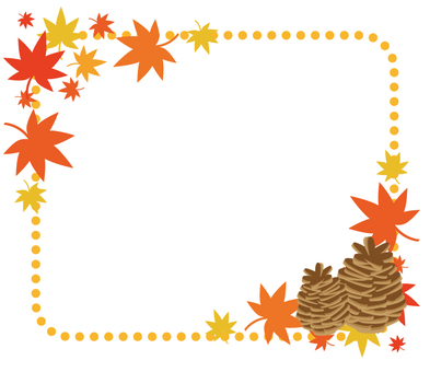 Autumnal leaves and pine cone frame