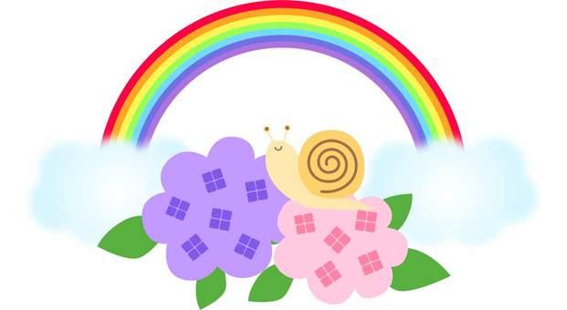 雨季蝸牛和繡球花