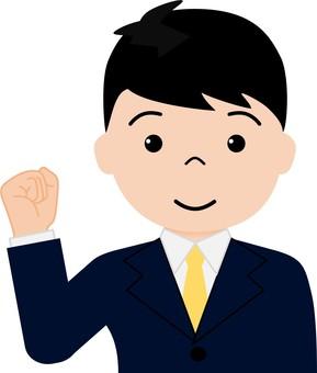 A salaryman who plays guts pose