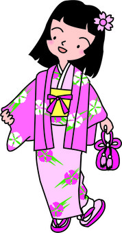 Girls going out with kimono