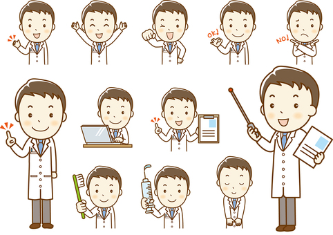 Doctor facial expression set