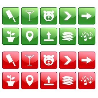 Icon set of knife, glass, bear etc