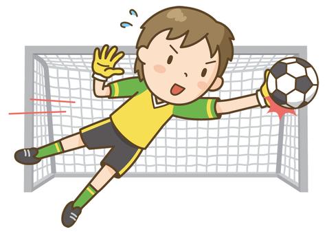 Soccer boy (diving catch)