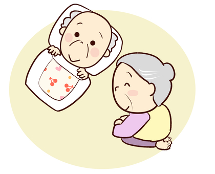 Grandma caring for grandpa