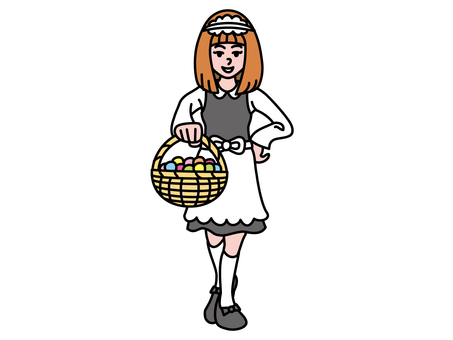 Maid with sweets basket