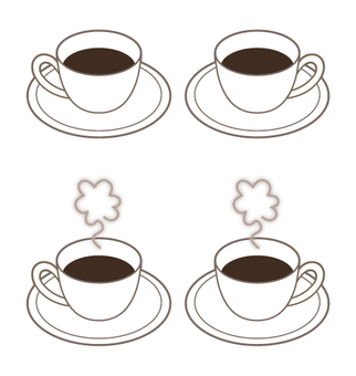 4 coffee cups with steam