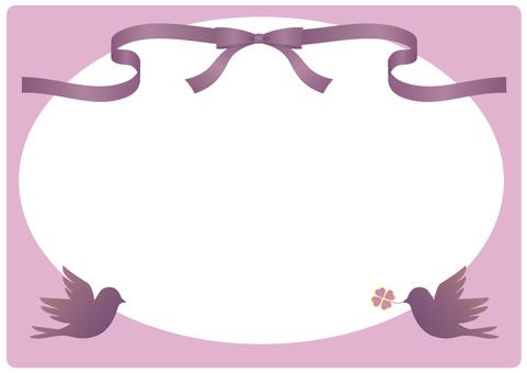 Ribbon and bird frame (pink)