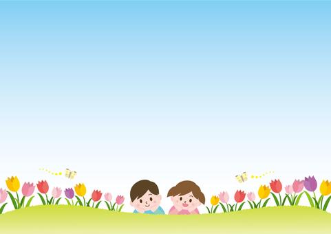 チューリップ畑と子供たち_B01