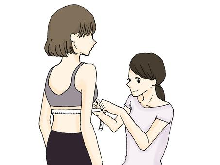 Woman measuring size