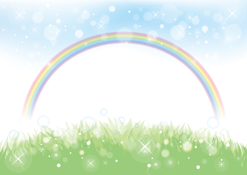 Rainbow and meadow background material 01