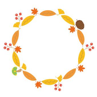 落ち葉のフレーム 秋