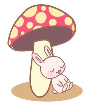 Large mushrooms and rabbits