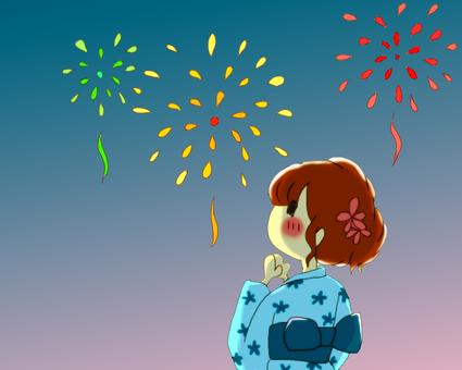 Fireworks display and girl