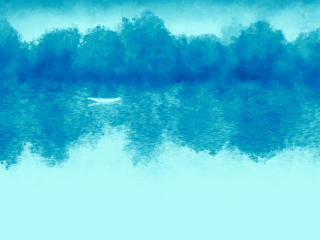 Watercolor-style background material 01 / blue