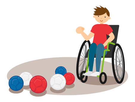 Wheelchair person playing boccia
