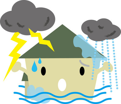 House suffered by thunderstorm, heavy rain, flood damage