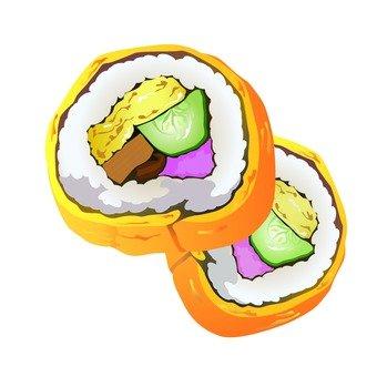 Egg rolled sushi