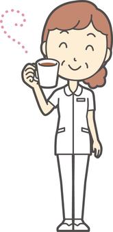 Middle-aged female nurse white coat-170-whole body