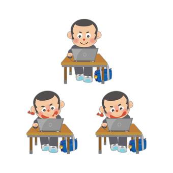Male student set using personal computer (Shobo)
