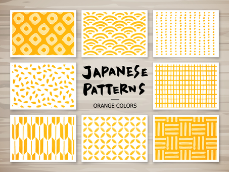 수공 일본식 패턴 (오렌지)