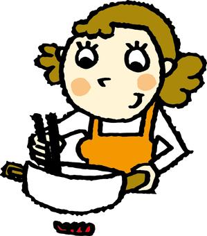 一個女人做飯