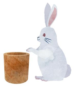Watercolor character rabbit (Us)