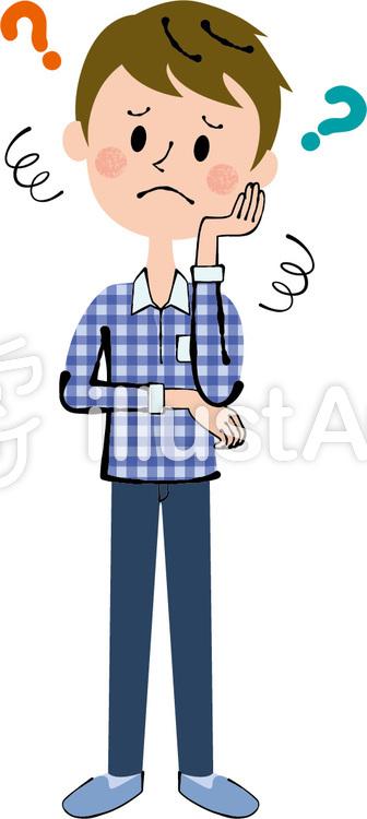 全身 手を頰にあてて困っている男性イラスト No 941593無料イラスト
