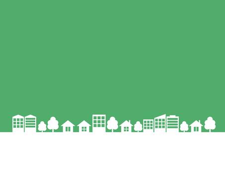 Cityscape silhouette dark green frame